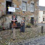 Kathryn & Neil outside Culross town house